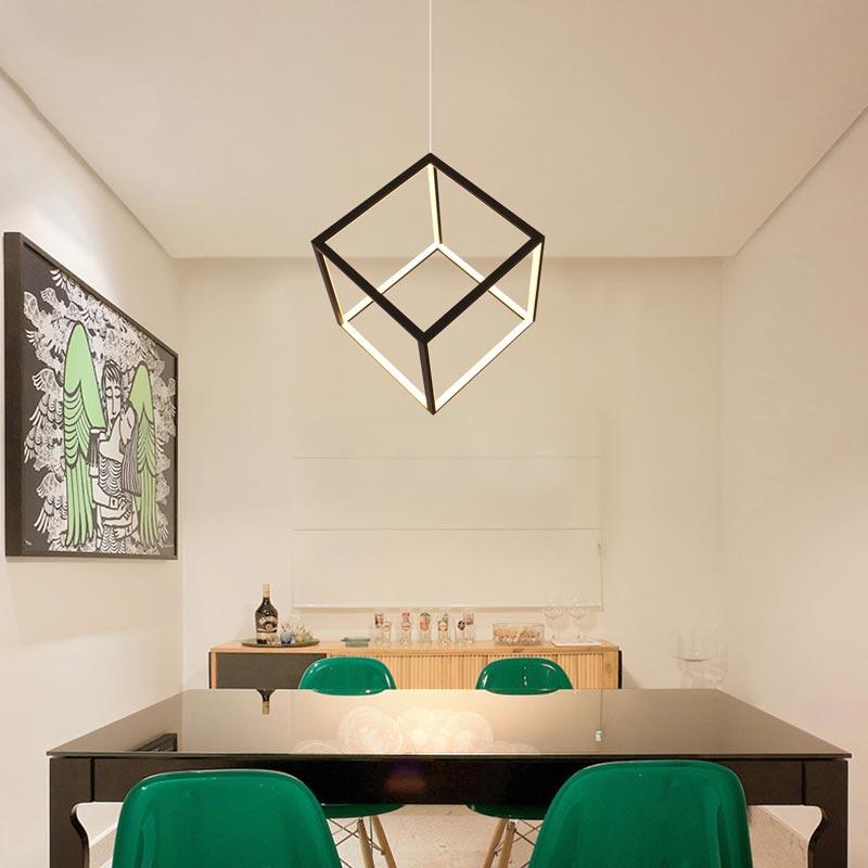 Postmodern LED Pendant Light Geometric Cube Light Creative Black Lighting Bedroom Kids Room Light LBY18069